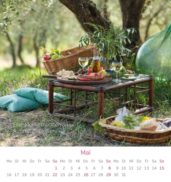 Postkarte Gartentisch Picknick Mai