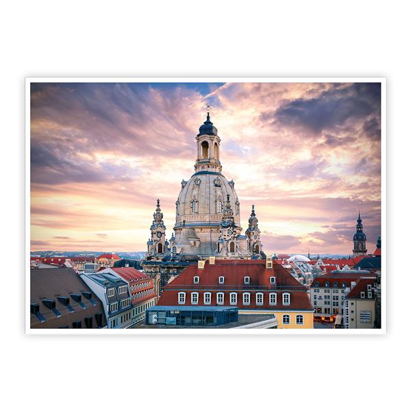 Ansichtskarte Dresden - Dresdner Frauenkirche zum Sonnenuntergang