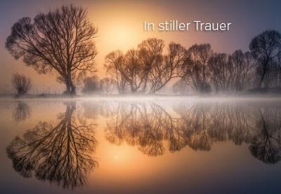 Trauerkarte Bäume am Wasser Spiegelung