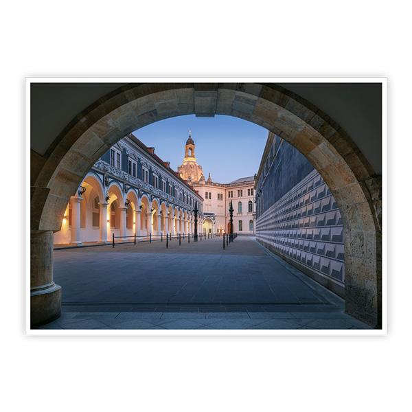 Ansichtskarte Dresden - Dresdner Stallhof zur Blauen Stunde