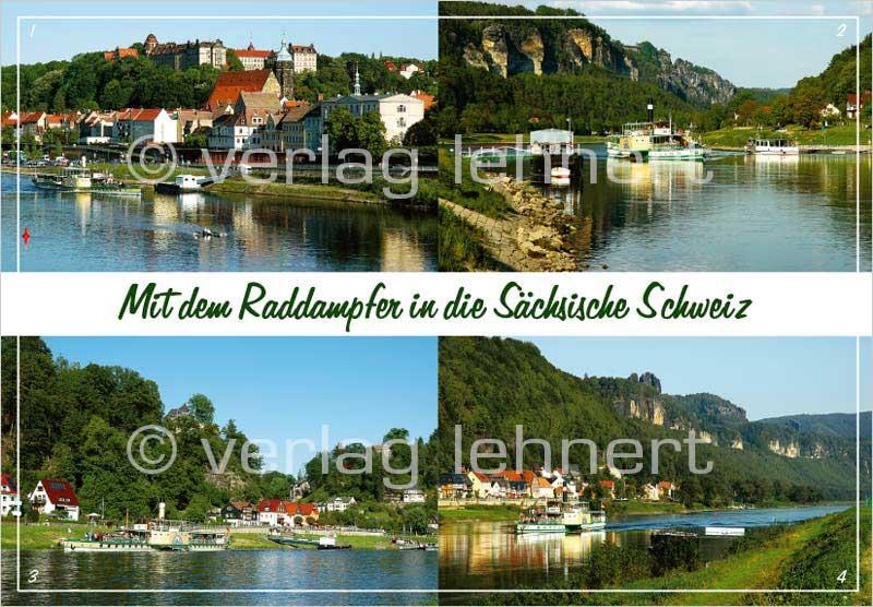 Ansichtskarte Mit dem Raddampfer in die Sächsische Schweiz