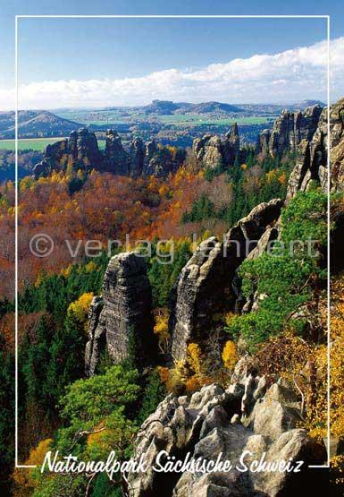 Ansichtskarte Die Schrammsteine im Herbst