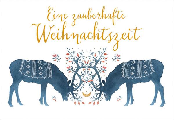 Weihnachtskarte Hirsche Geweihe