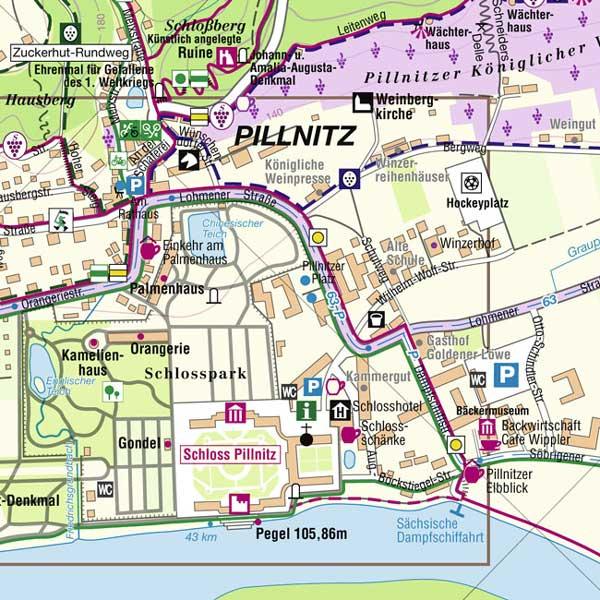 Wanderkarte Dresden Pillnitz Elbe