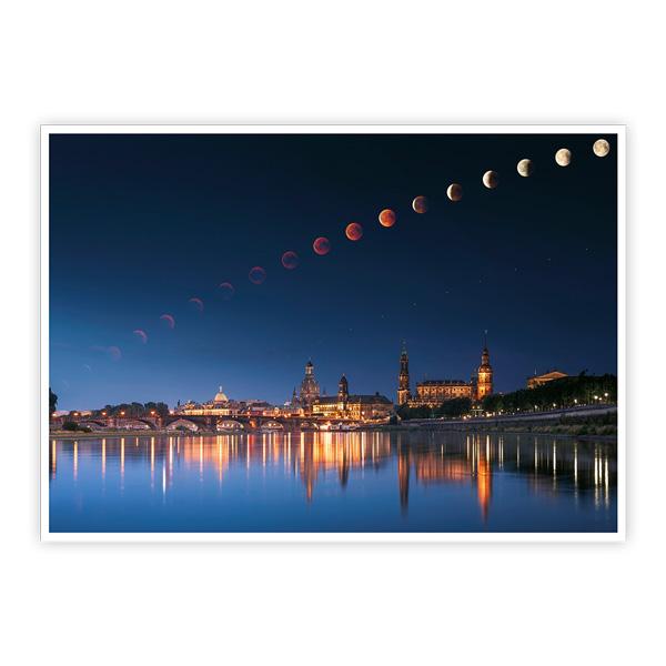 Ansichtskarte Dresden - Mondfinsternis über Dresden
