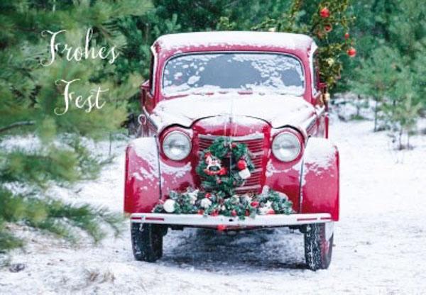 Weihnachtskarte Rotes Auto