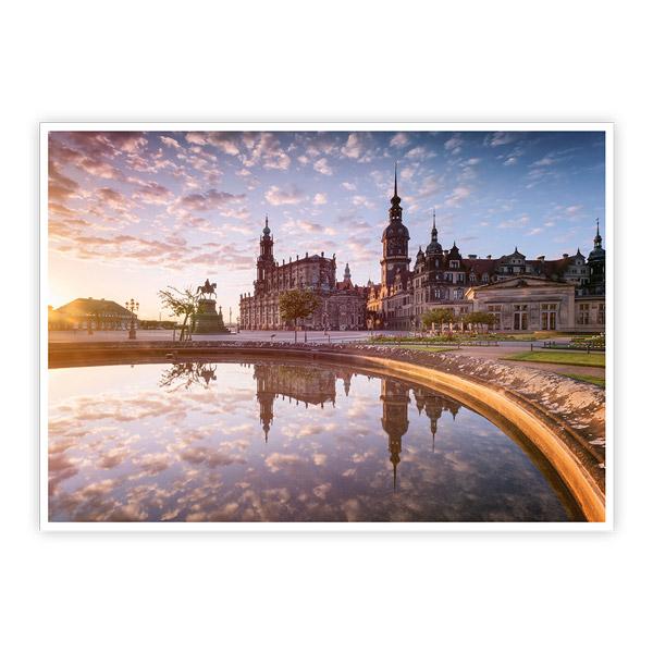 Ansichtskarte Dresden - Dresdner Theaterplatz mit Spiegelung