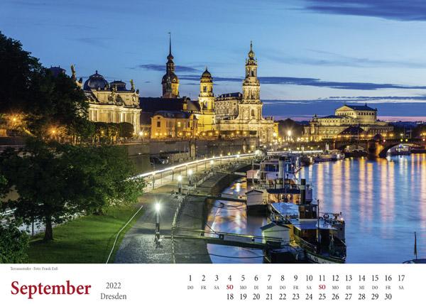 September 2022 Brühlsche Terrasse Dresden Kalender