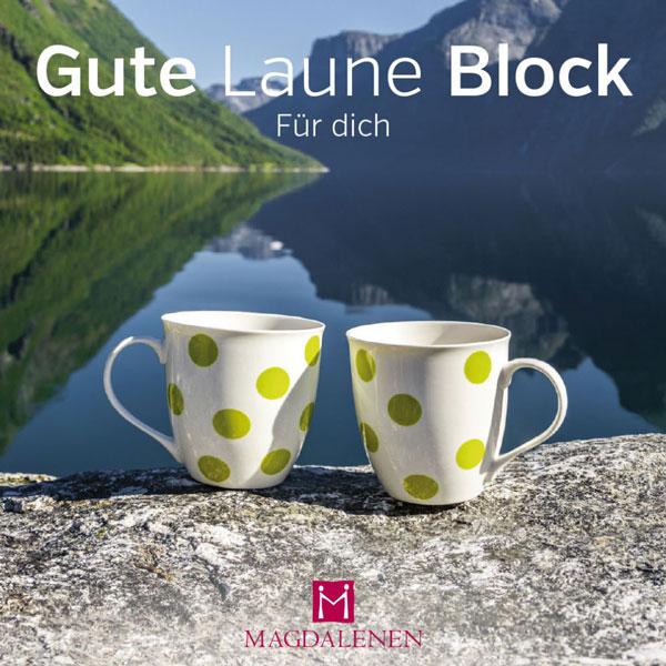 Gute Laune Block Zwei Tassen am See Berge