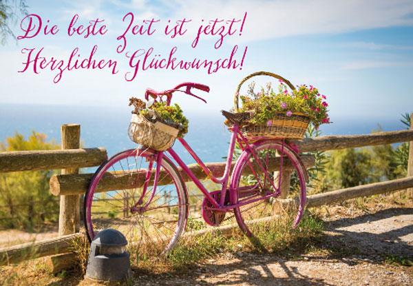 Geburtstagskarte Fahrrad am Meer Blumenkorb