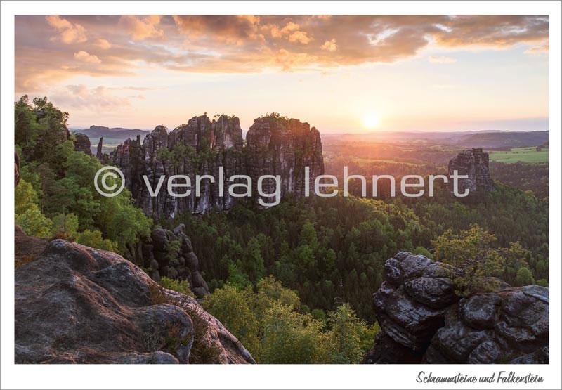 Ansichtskarte Abendstimmung im Schrammsteingebiet