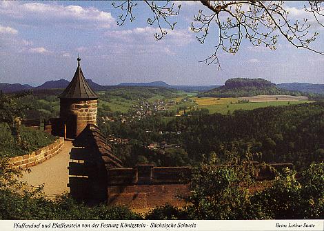 Ansichtskarte Pfaffendorf und Pfaffenstein von der Festung Königstein
