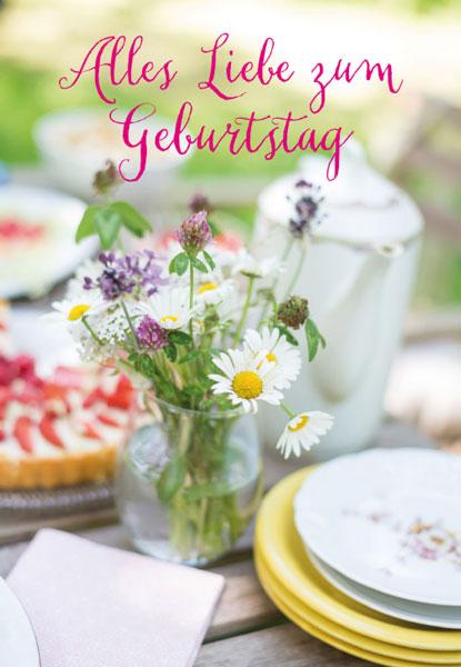 Grusskarte Blumen Kaffeegeschirr