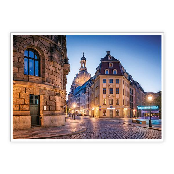 Ansichtskarte Dresden - Rampische Straße mit Frauenkirche