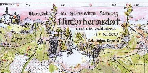Wanderkarte Hinterhermsdorf und die Schleusen - 1 : 10000