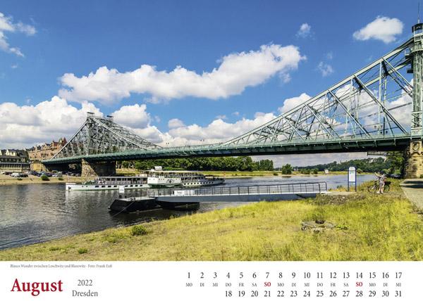 Kalender Dresden 2022 Blaues Wunder August