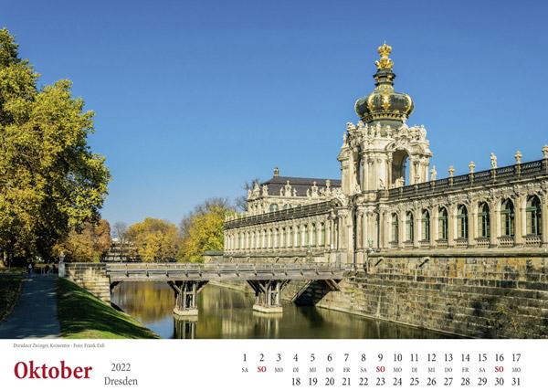 Kalender Dresden 2022 Zwinger Oktober