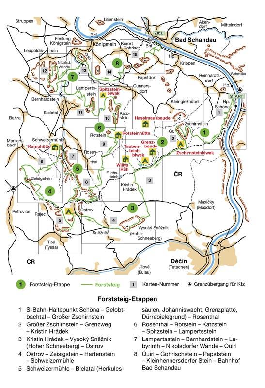 Karte Forststeig Sächsische Schweiz