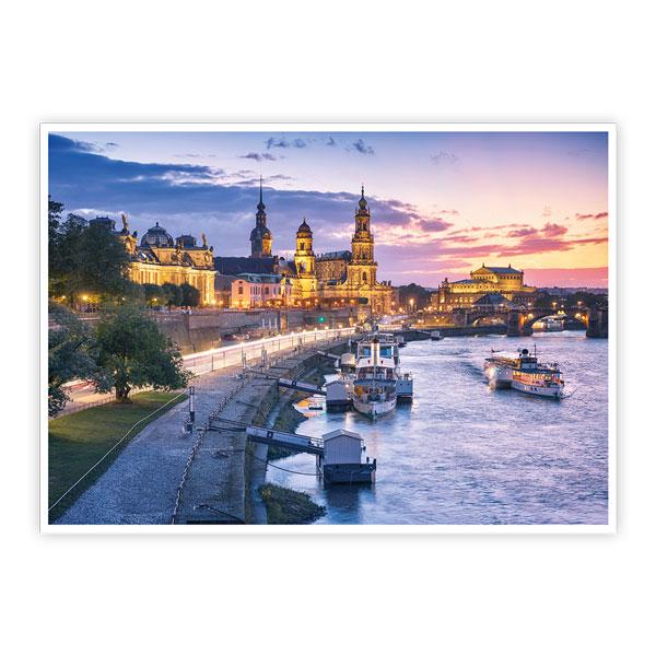 Ansichtskarte Dresden - Dresdner Altstadt zum Sonnenuntergang