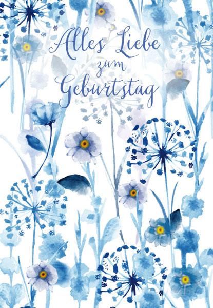 Geburtstagskarte Blaue Blumen Aquarell