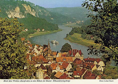 Ansichtskarte Blick über Wehlen elbaufwärts zu den Höhen der Bastei