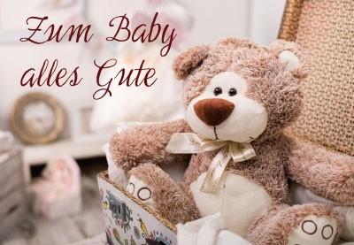 Grusskarte Teddy in Koffer Baby
