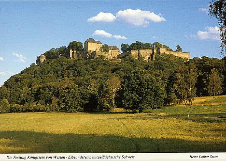 Ansichtskarte Die Festung Königstein von Westen